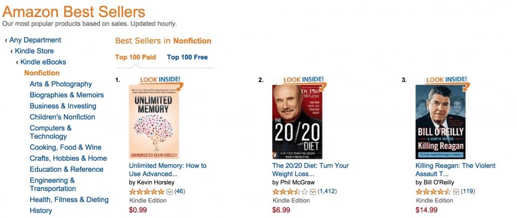 #1 nonfiction bestseller in all of Amazon Kindle Store