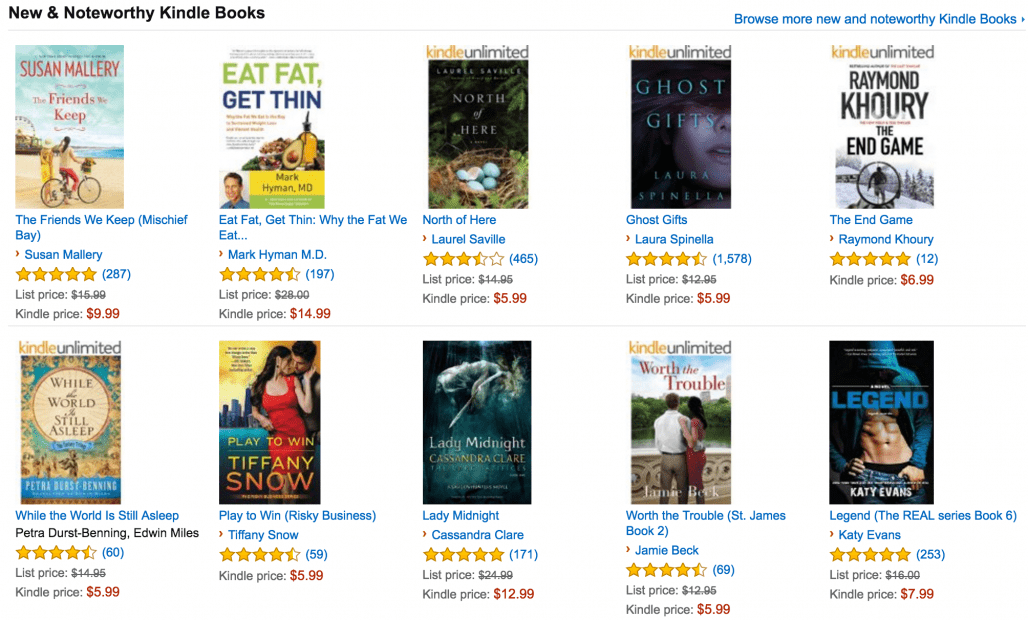 New & Noteworthy Kindle Books feature on Amazon
