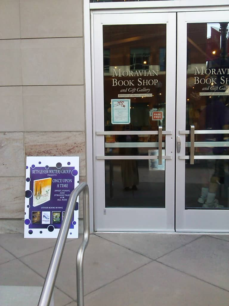 book signing promotional sign
