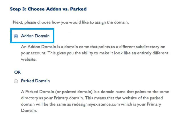 Bluehost Addon vs Parked Domain