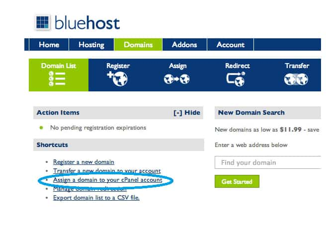 Bluehost Assign a Domain to Your Account