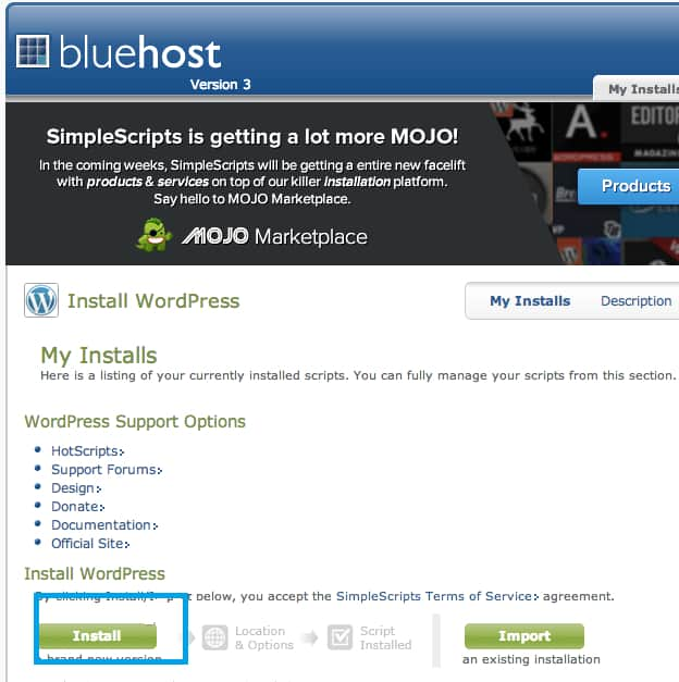 Bluehost cPanel WordPress Installation Screen