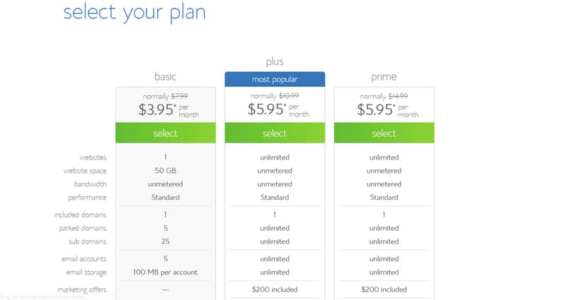 Select a Plan for Your Bluehost Account
