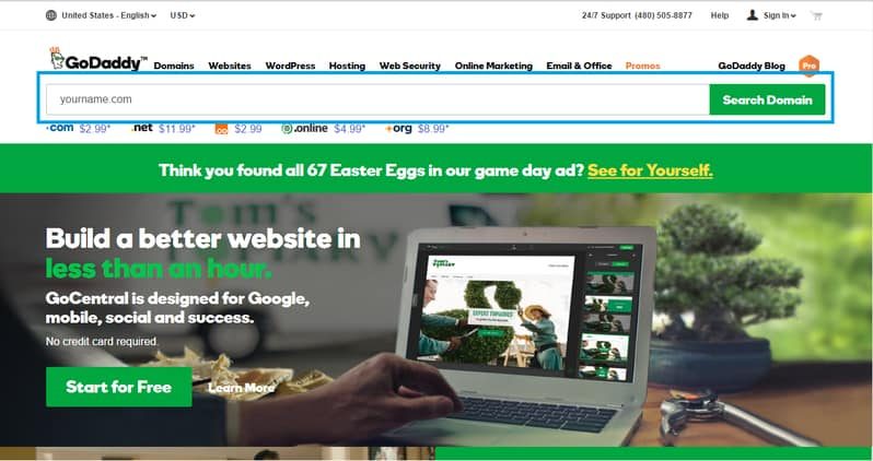 GoDaddy Search Domain Screen