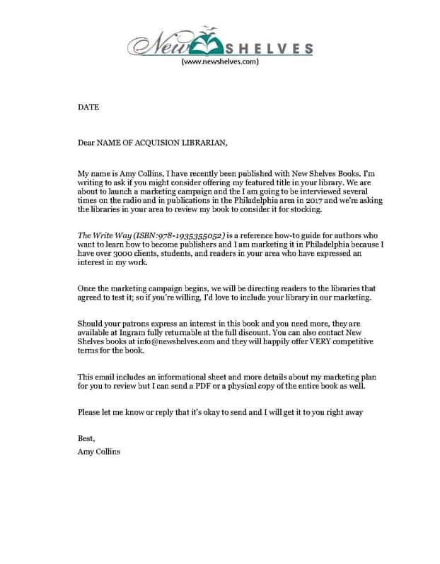 The Write Way Sample Librarian Outreach Letter