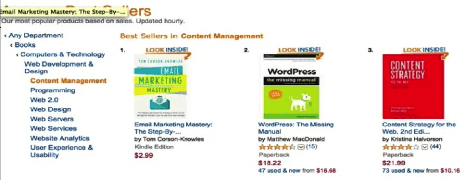Email Marketing Mastery bestseller in content management