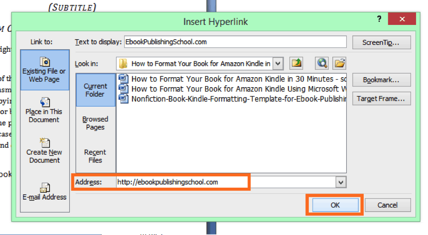 encode the URL on the address field to finish hyperlink