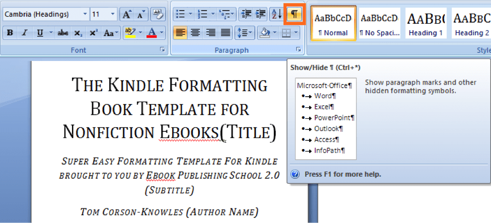 How to format your book for amazon kindle using microsoft word in use pilcrow to show page and line breaks on ms word fandeluxe