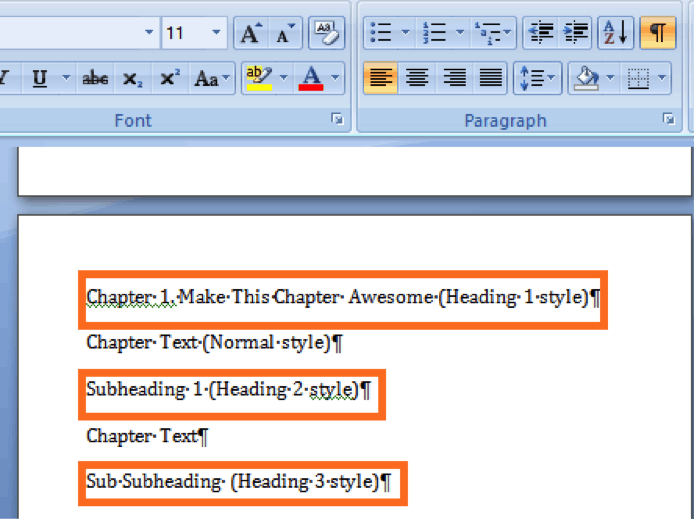 formatting book chapters for nonfiction