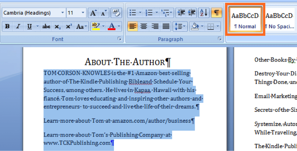 use normal style for the body of the about the author page