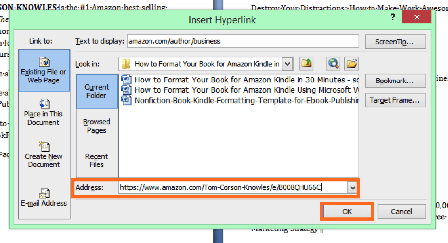 insert URL in the address field to finish hyperlink