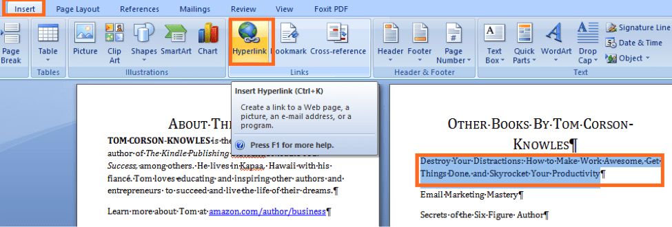 insert hyperlink on MS Word