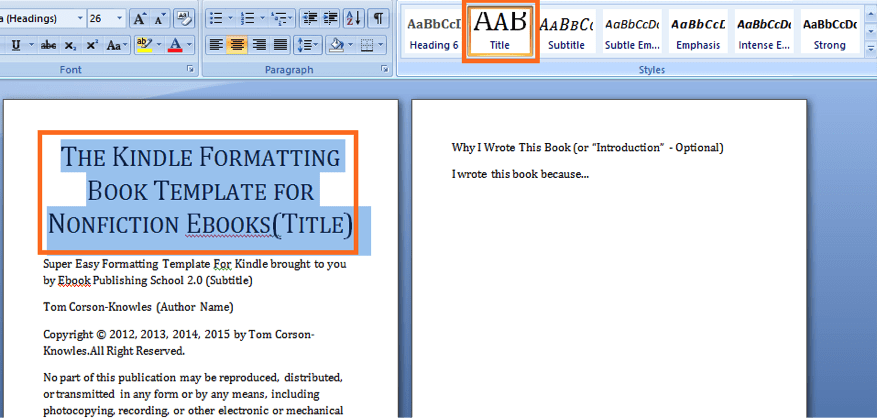 How to format your book for amazon kindle using microsoft word in use title style for your book title fandeluxe Images