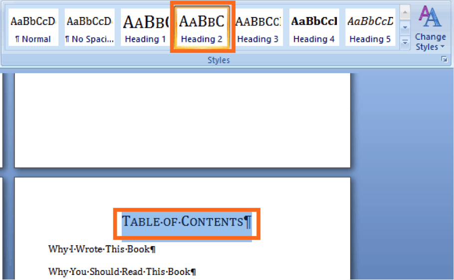 create the table of contents use heading 2 for the title