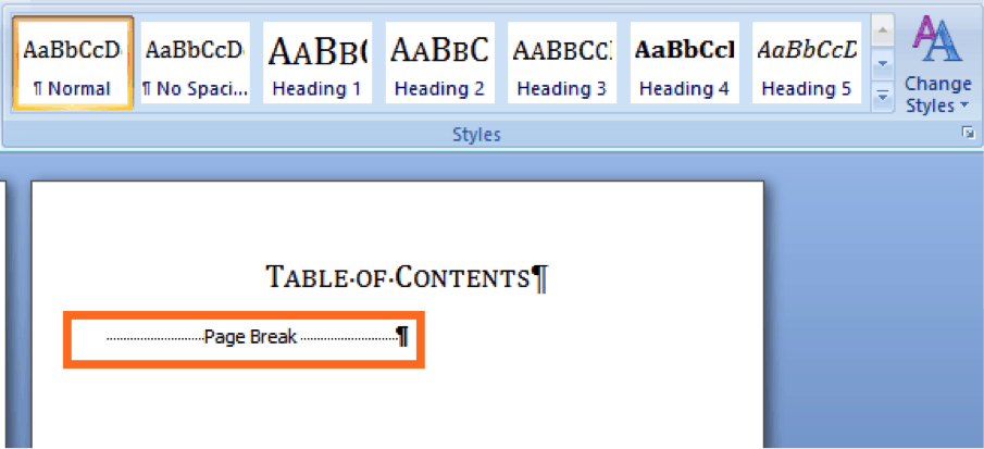 erase all table of contents body and leave title and page break