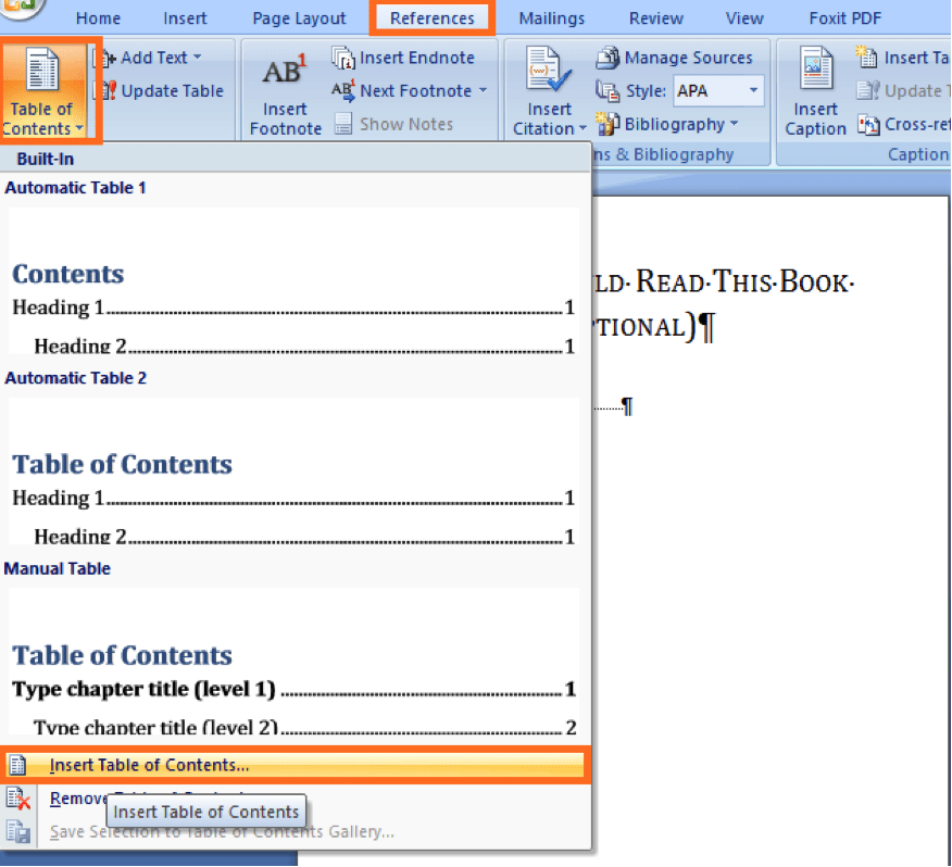 add TOC by inserting a table of content