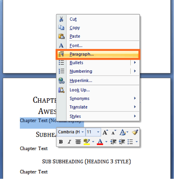 format fiction books change paragraph settings