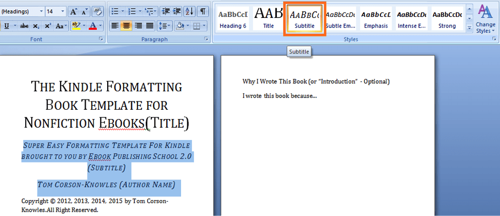 How to format your book for amazon kindle using microsoft word in format book subtitle 3 fandeluxe Image collections