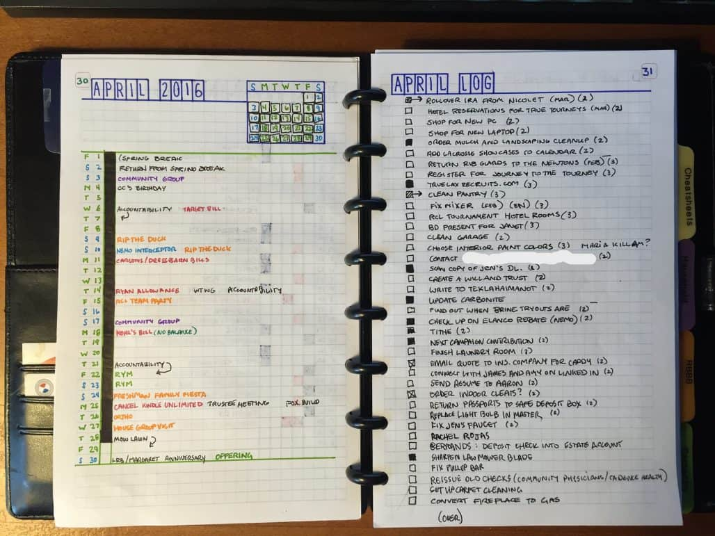 Bullet journal layout by John Uhri
