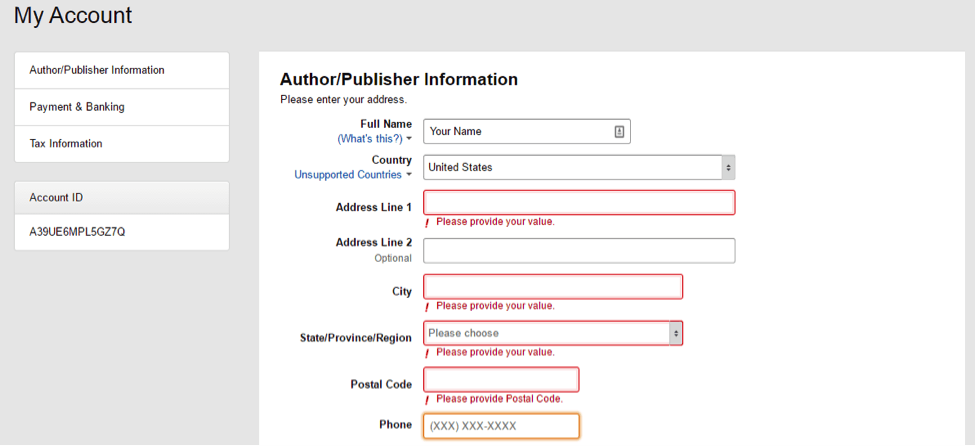 complete your author information on kdp