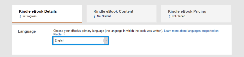 select the language of your book