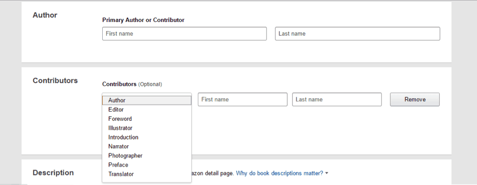 add authors and contributors name for your book