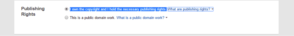 declare publishing rights for a book