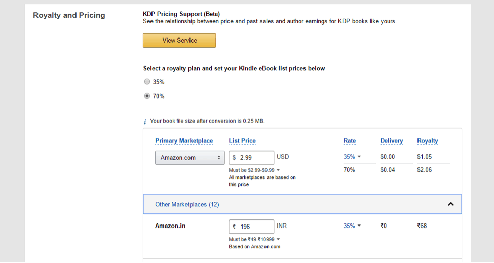 pricing a book on Kindle