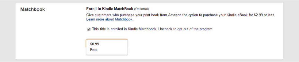 choose option for amazon matchbook program