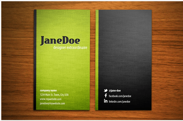 Photoshop business card template for writers