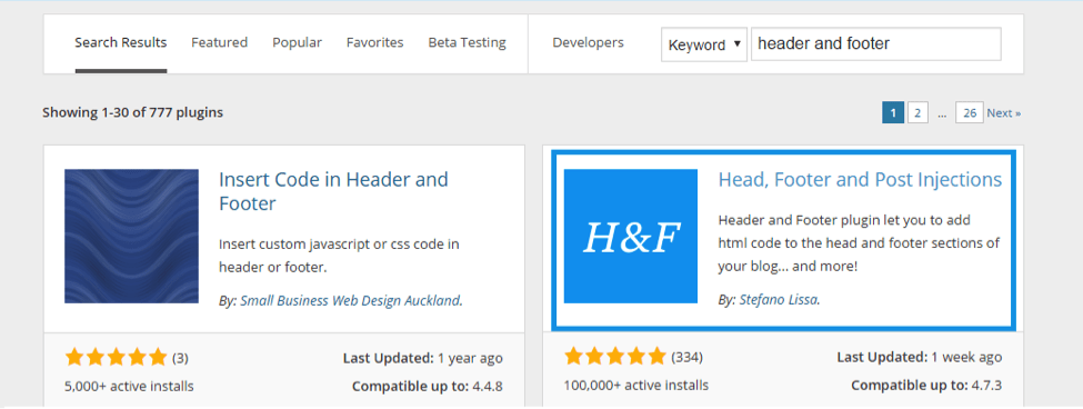 install a header and footer plugin WordPress