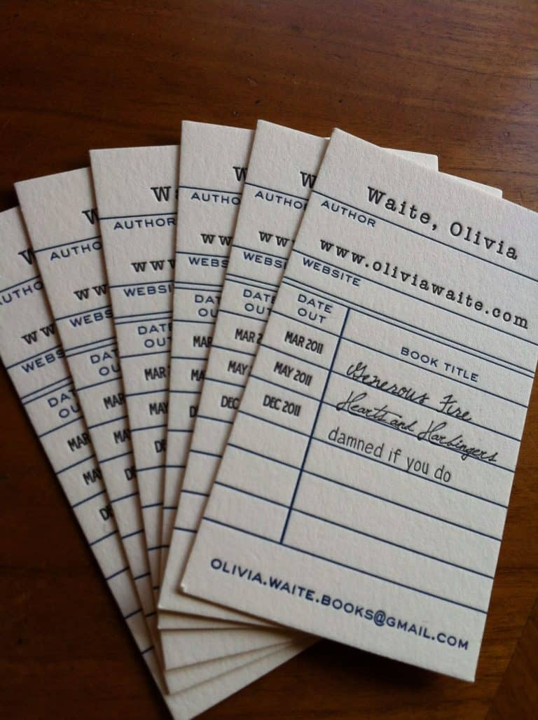 library checkout business cards by Olivia Waite
