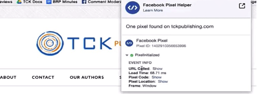 verify Facebook pixel