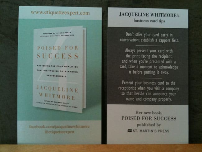Jacqueline Whitmore author business cards