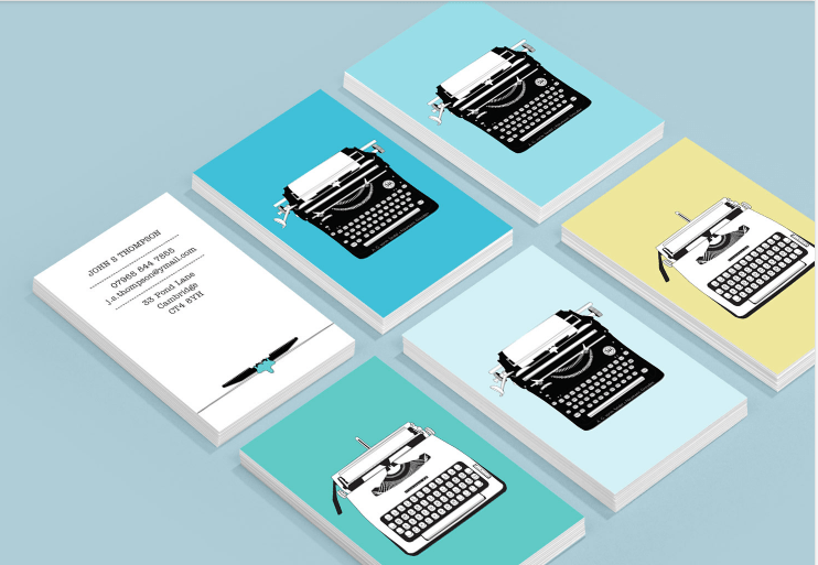 bright business cards for writers