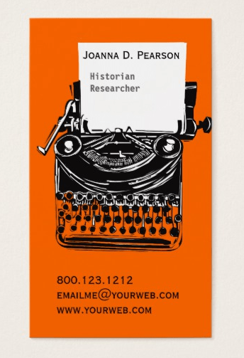 cool business cards for writers