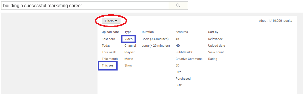 how to filter YouTube search
