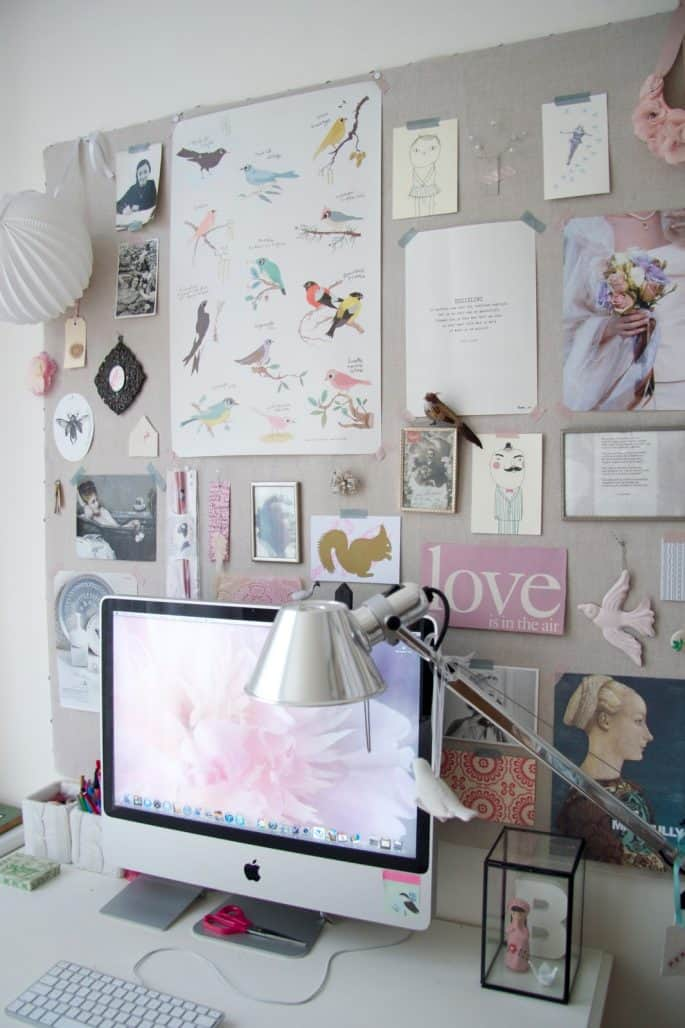 large grey inspiration board with pictures of birds and a mac computer
