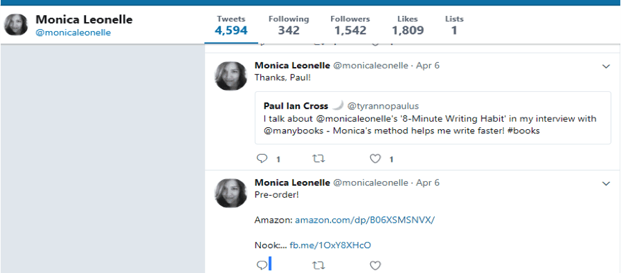 Talk with readers and use hashtags to promote your book on Twitter like author Monica Leonelle