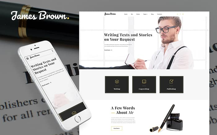 james brown html5 writer website template