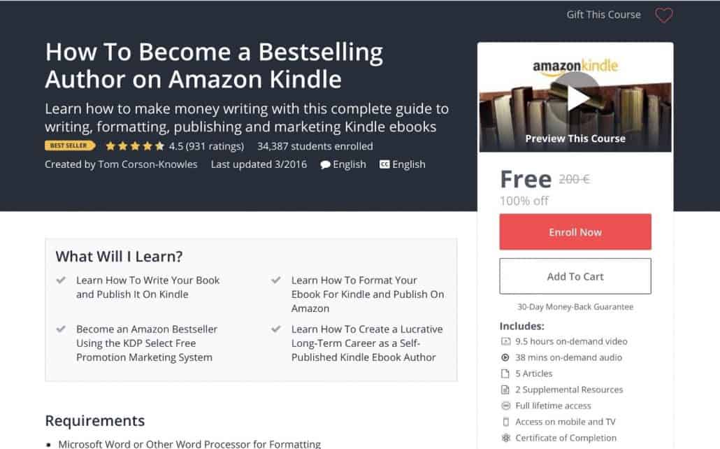 become a bestselling author on kindle online self publishing course