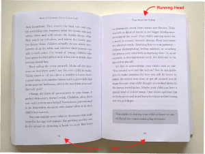 Runnin heads and feet in book layout + image
