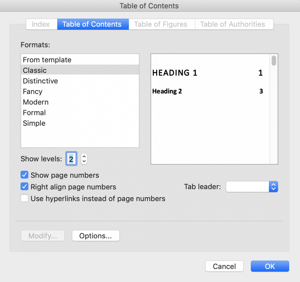 Table of Contents dialog in Word