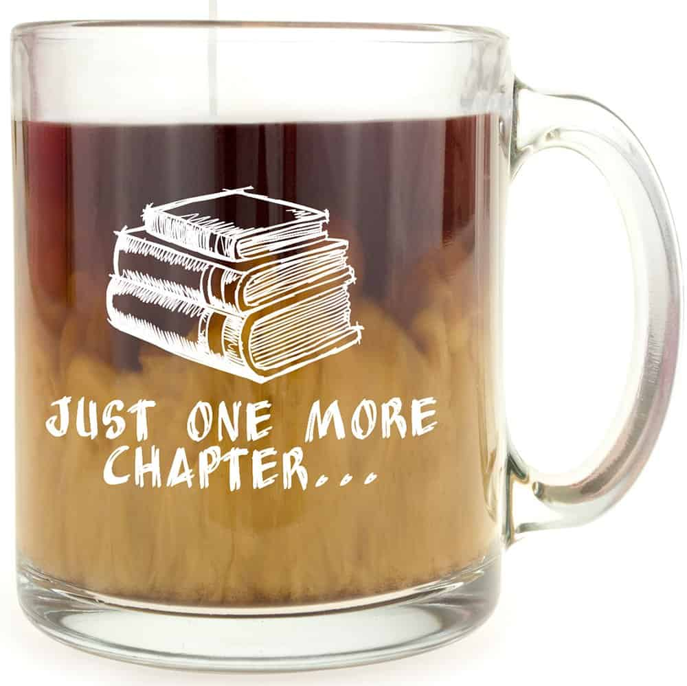 book lover glass mug