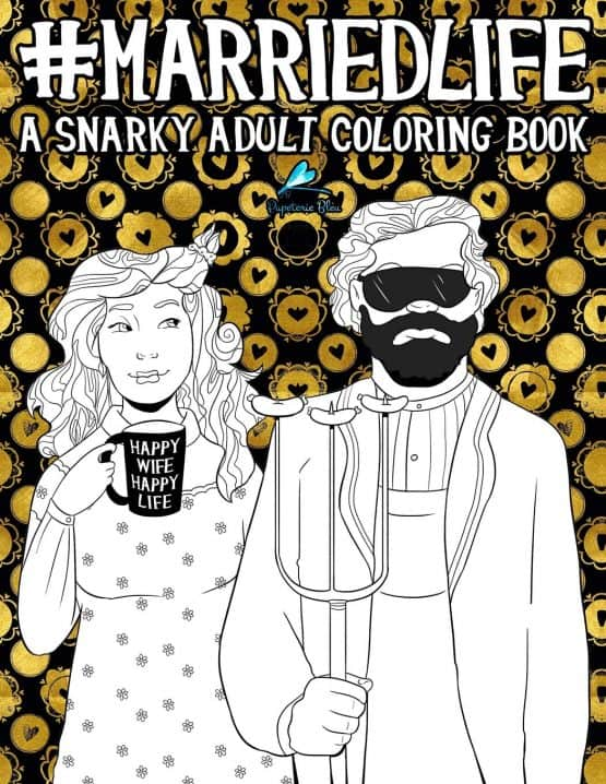 married life snarky coloring book image
