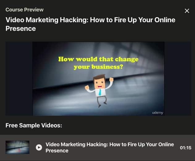 Udemy Video Marketing Hacking Screenshot Image